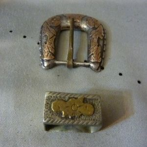 Vintage Mexican Sterling Silver Buckle Set 2 Piece